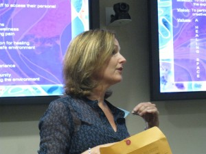 Judy Ranney speaks on Harp Therapy at Moffitt Cancer Center in Tampa FL